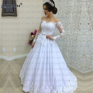 Robe de mariage 2019 Sexy Sheer Illusion Long Sleeves Lace A Line Wedding Dress Custom Made Cheap Vestido de noiva
