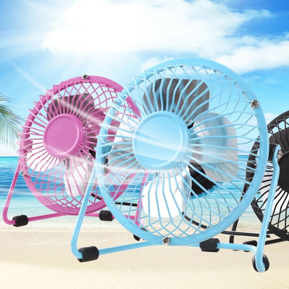 3-Color Desktop Mini Fan 4-Blade DC USB Cable Cooling Air Cooler Portable Silent Desktop Fan 360° Rotating Rocker Switch Fan