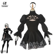 ROLECOS Game Nier Automatas Cosplay Costumes No. 2 Type B Women Cosplay Costumes Black Sexy Dress Headwear Full Set Halloween