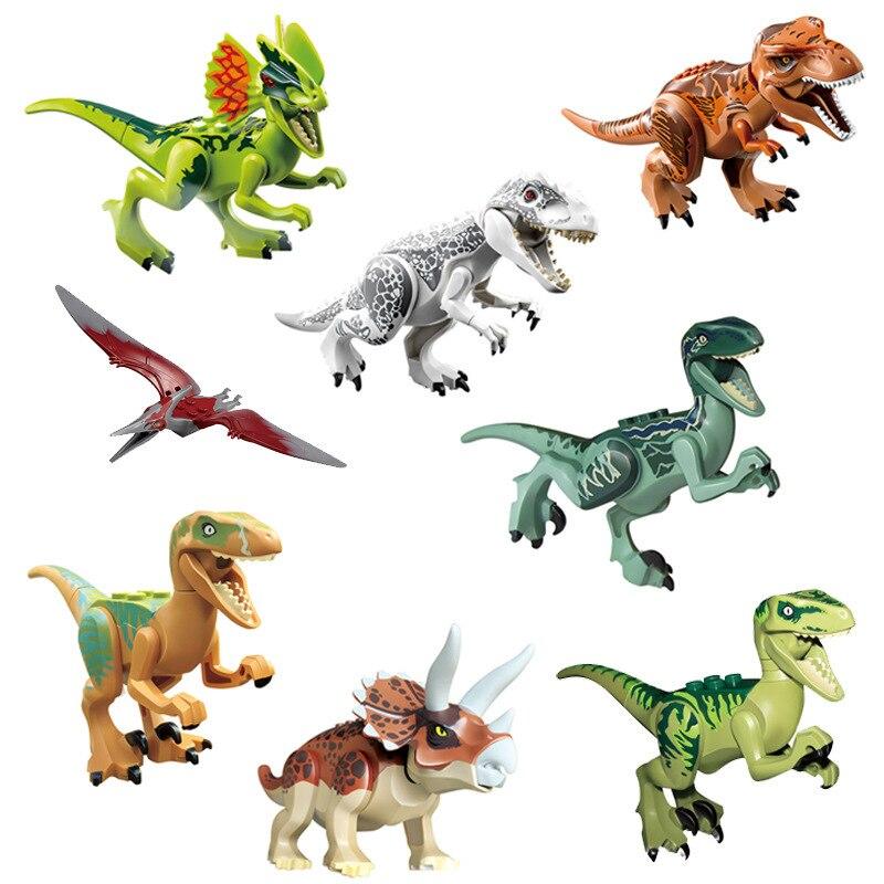 8 unids/set Mundo Jurásico dinosaurios tiranosaurio Fit dinosaurios figuras bloques de construcción ladrillos juguete clásico para niños cumpleaños