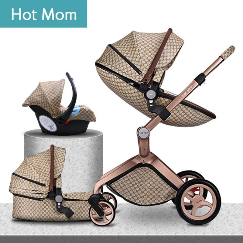 Carrito de bebé 3 en 1 de lujo con paisaje alto a la moda Hot Mom 2020 original para recién nacido