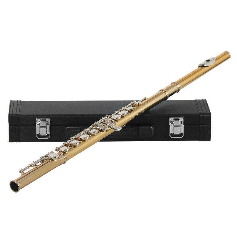16 buracos c chave ocidental concerto flauta instrumento de sopro com pano de limpeza vara luvas caso acolchoado