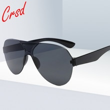 CRSD 2020 Fashion Oversized Frameless Sunglasses Brand Designer Candy Color Eyewear Goggles Trend UV