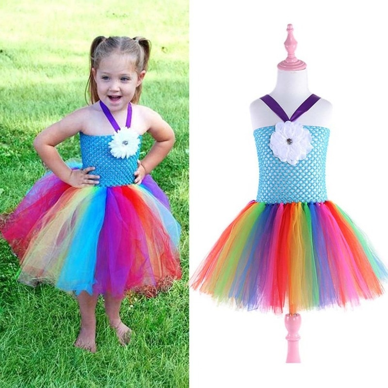 Girls Party Mesh Tutu Dresses Kids Princess Birthday Outfit Halloween Cosplay Costume Role Play Dress Up Pretended Game Suit
