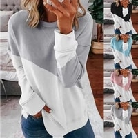woman splicing contrast color round collar long sleeve sweatshirts soft cotton casual fashion pullovers