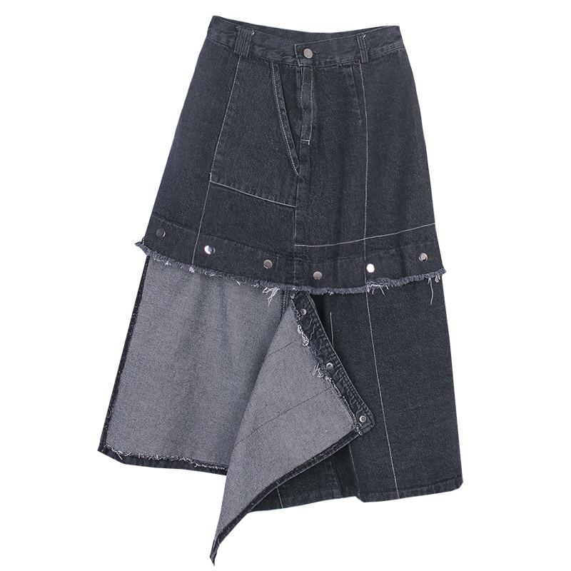 LANMREM 2020 new summer fashion women high waist mid calf length denim black color tassels patchwork halfbody skirt 2A7701L