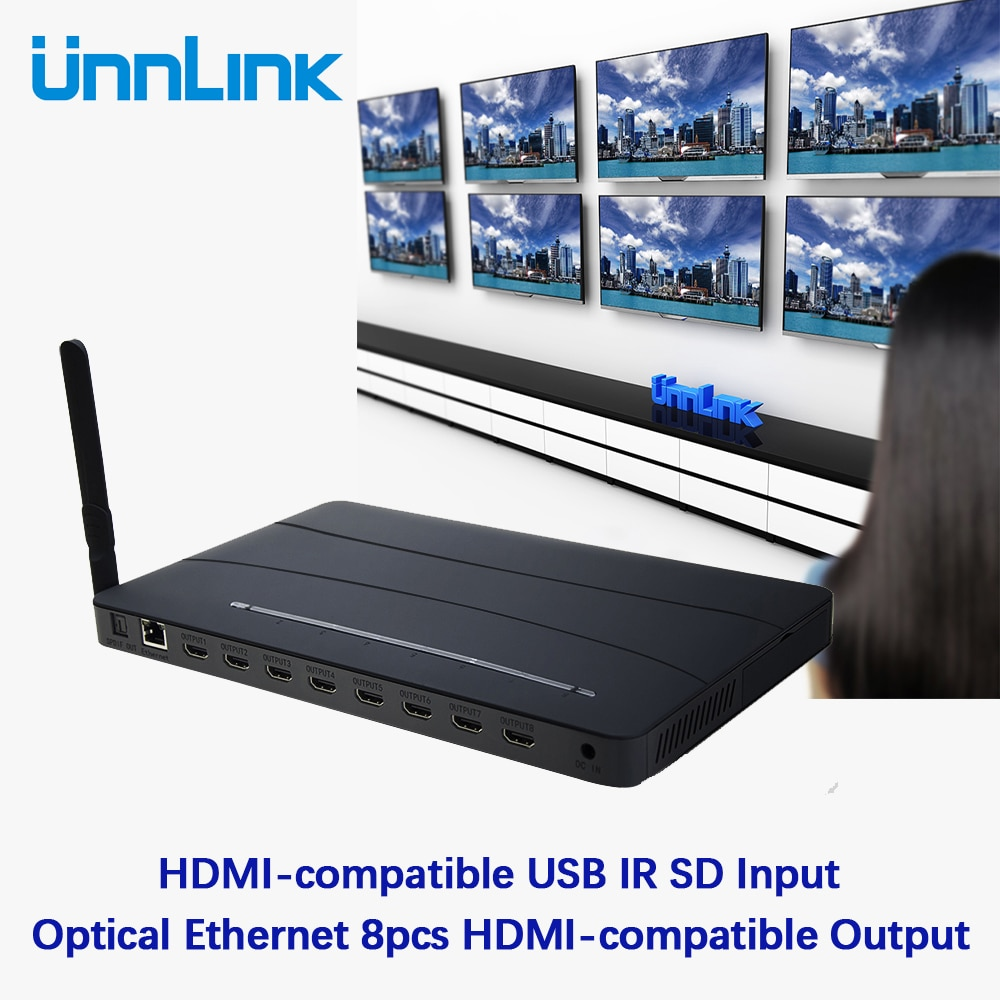 Unnlink 4K HDMI-compatible Switch 1 Input 8 Output Splitter HDMI-compatible USB IR SD to Optical Ethernet HDMI-compatible