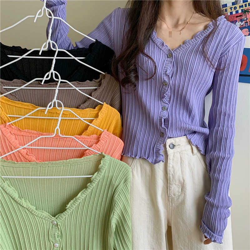 Yocalor Fresh Sweet Fashion Fungus Knitted Cardigan Women Chic Button Vertical Stripes Femme Sweater