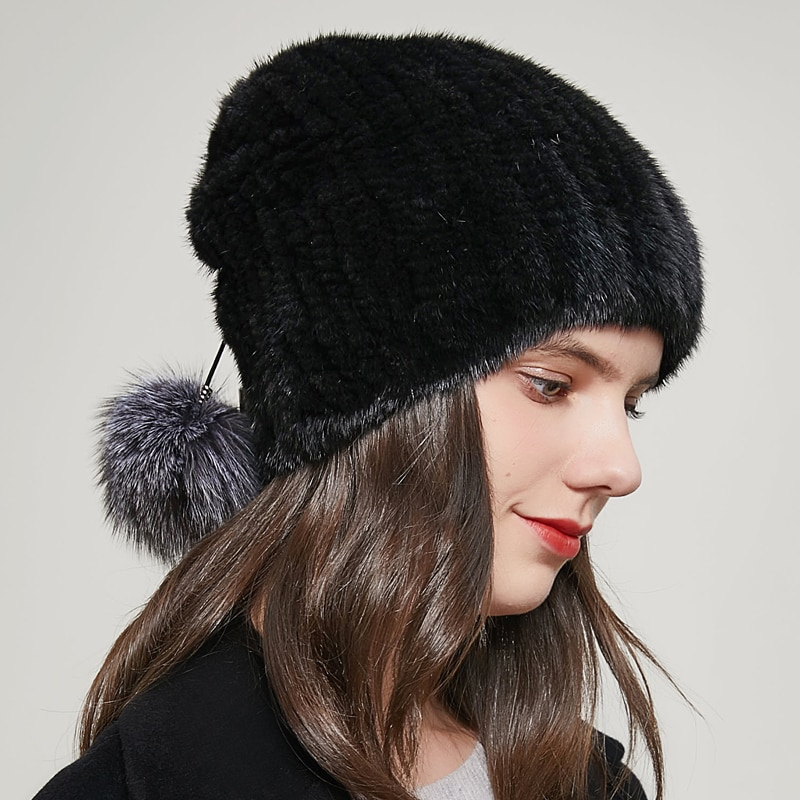 Mink Fur Hat Winter Women's Real Natural Fur caps Woven Fashion Ear Protection Ponytail Hat Hot Sale