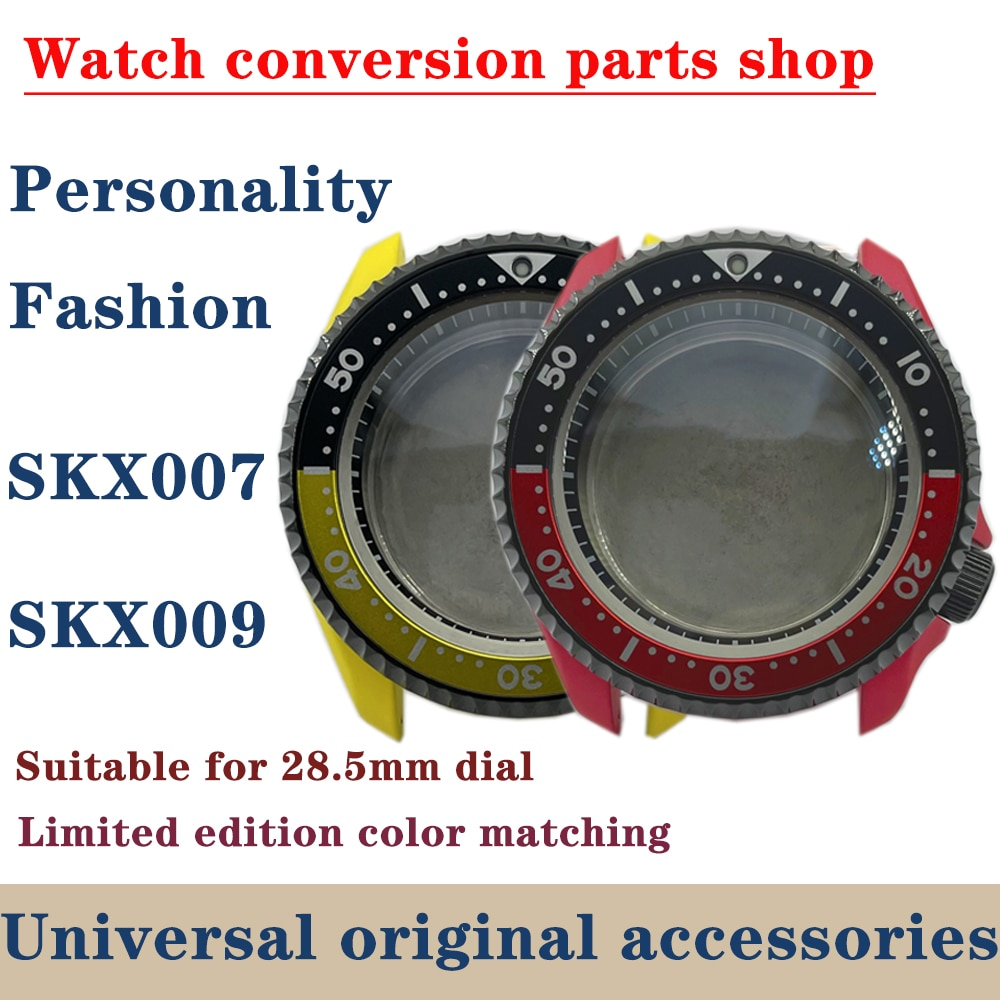 Watch Parts 42.3mm Red/Yellow Ceramic Coating SKX007 Modify Watch Case Aluminum Rotating Bezel Sapphire Fit NH35/36 Movement