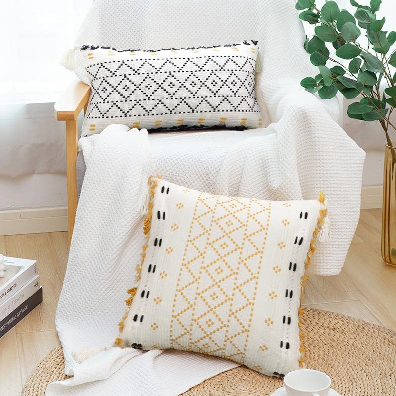 JUANNAI Kwasten Cushion Cover  Boho Kussensloop Met Kwasten Getuft Home Decor Handgemaakte Geweven Kussensloop Sofa Woonkamer