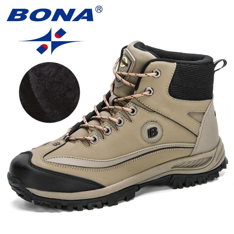 BONA-أحذية جلدية دافئة للغاية للرجال ، أحذية شتوية ، أحذية ثلج قطيفة ، مقاومة للانزلاق ، شتوية ، 2020