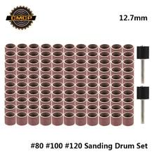 Cmcp 12.7mm lixamento tambor kit grit #80 #100 #120 faixa de lixamento para dremel mangas para elétrico mini angle grinder lixar mandris