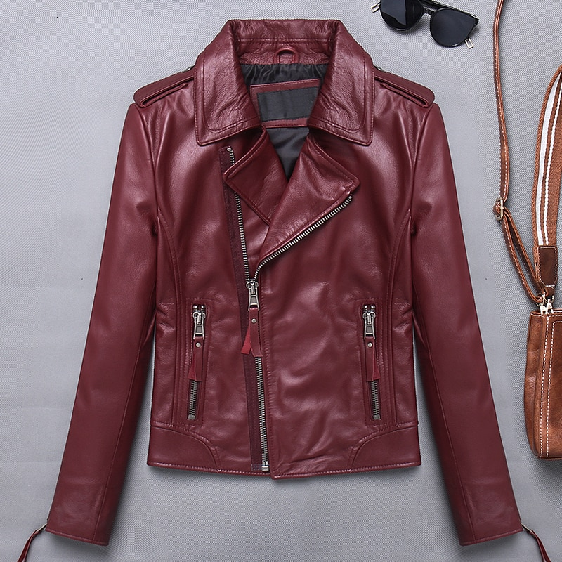 Women Lambskin Genuine Leather Jackets Autumn Slim Short Motorcycle Biker Jacket Ladies Real Leather Coats Female Chaqueta Mujer