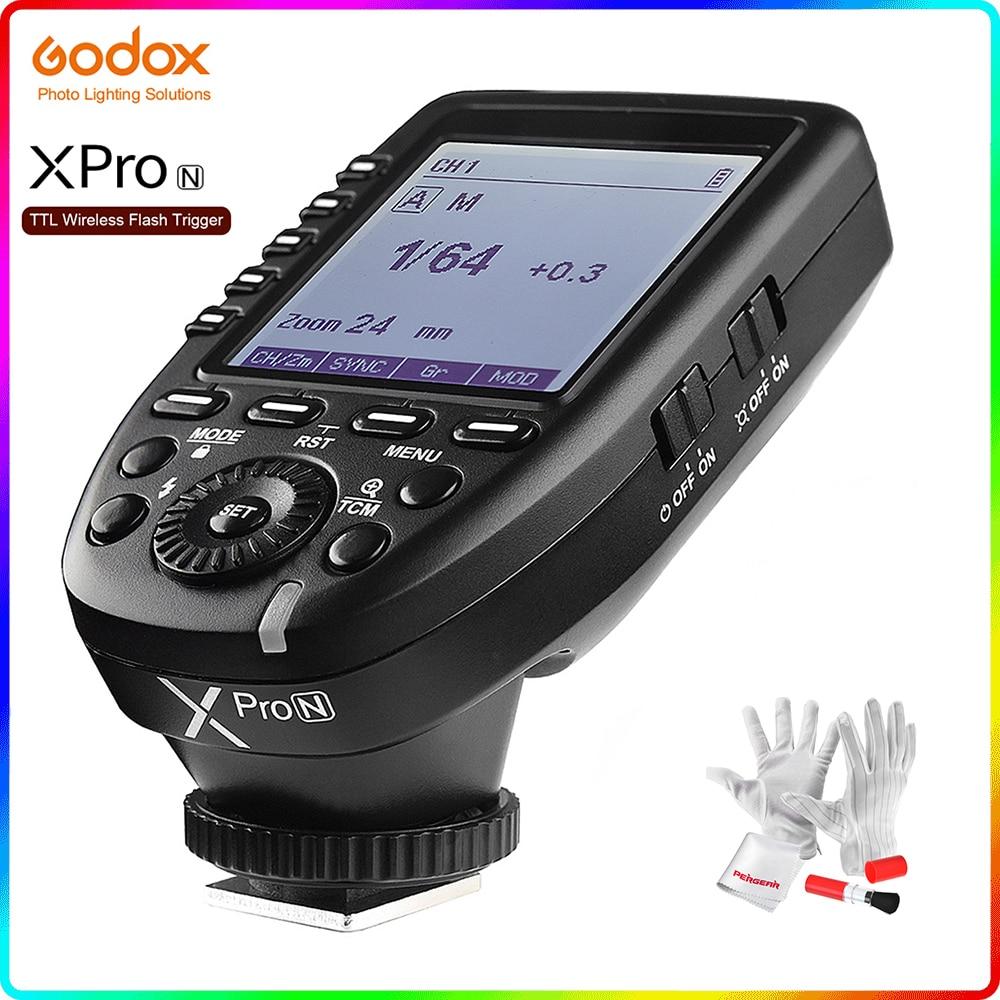 جهاز إرسال Godox Xpro-N i-TTL II 2.4G لاسلكي X نظام مزامنة عالي السرعة 1/8000s مع شاشة LCD لكاميرا Nikon DSLR V860III
