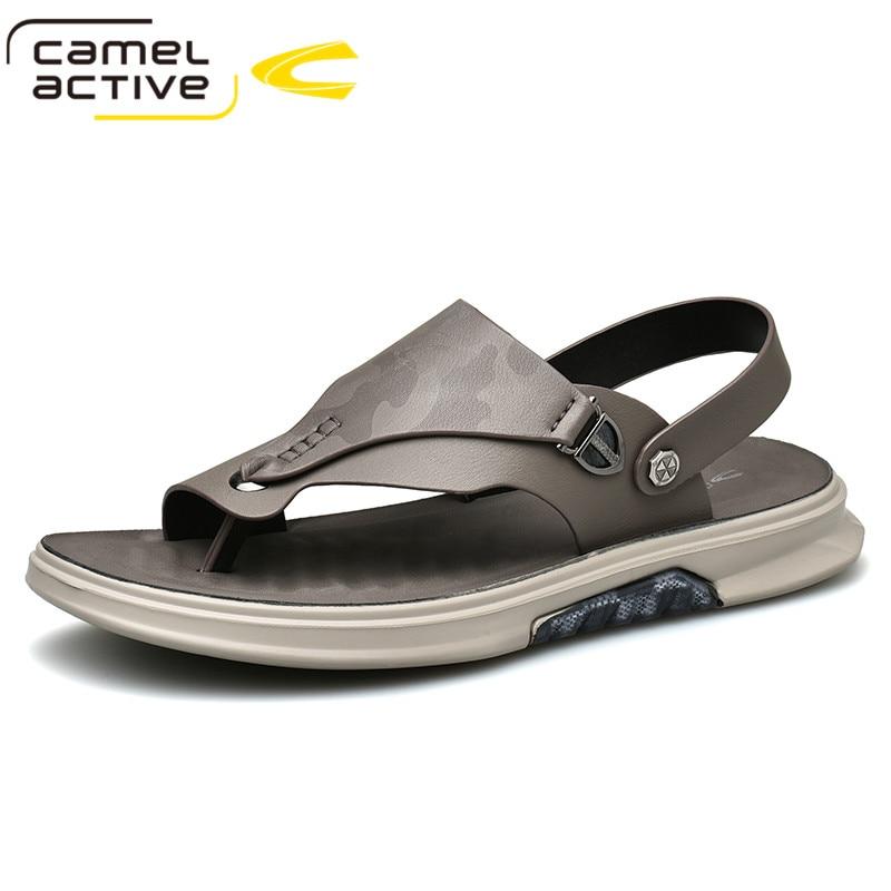 Camel Active-صنادل شاطئية جلدية للرجال ، أحذية صيفية مسطحة وغير رسمية ، علامة تجارية جديدة ، 2021