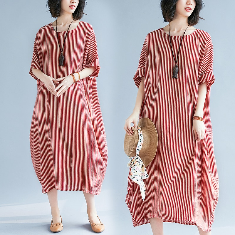 Women's Large-Size Striped Slimming Cotton and Linen Short-Sleeved Dress for Plump Girls plus Size L