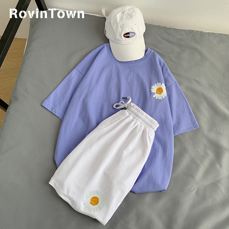 Conjunto Casual de 2 piezas de Daisy Sports para mujeres Kawaii talla grande de estilo coreano ropa de calle Bts Kpop mujeres trajes envío gratis