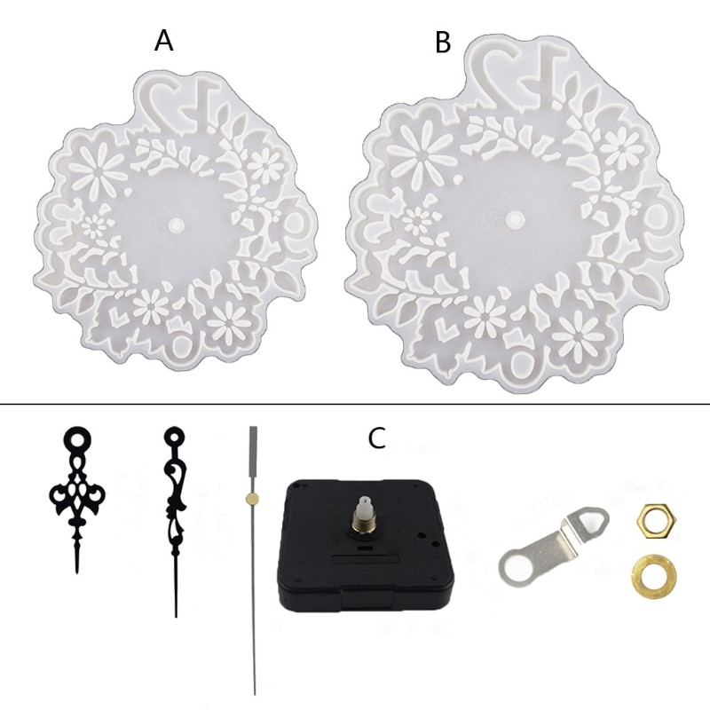 Flower Clock Wall Decoration Crystal Epoxy Resin Mold Ornaments Silicone Mould