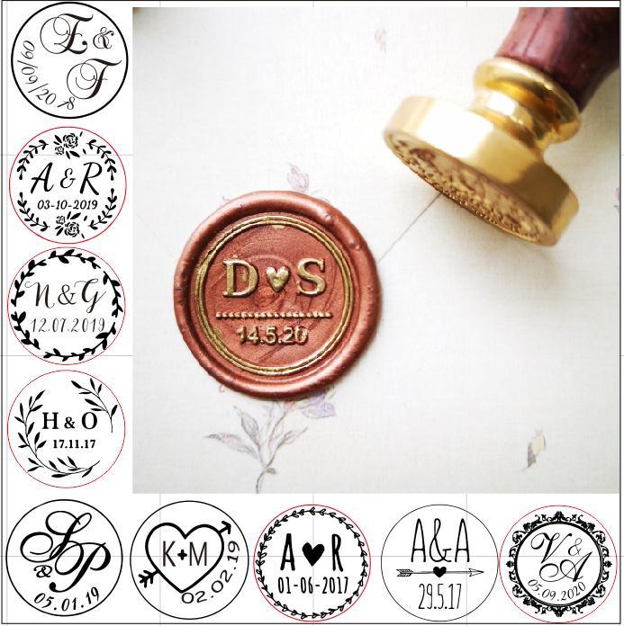 Печать под заказ с двумя инициалами, печать с датой, печать с индивидуальная восковая печать, печать на Свадебное приглашение, свадебный под...