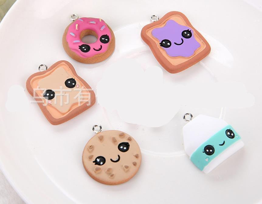 Kawaii Cartoon dolls,bread, donuts Simulation Biscuit Flat back Resin Cabochon Fake Food  DIY Earrings pendants Accessories