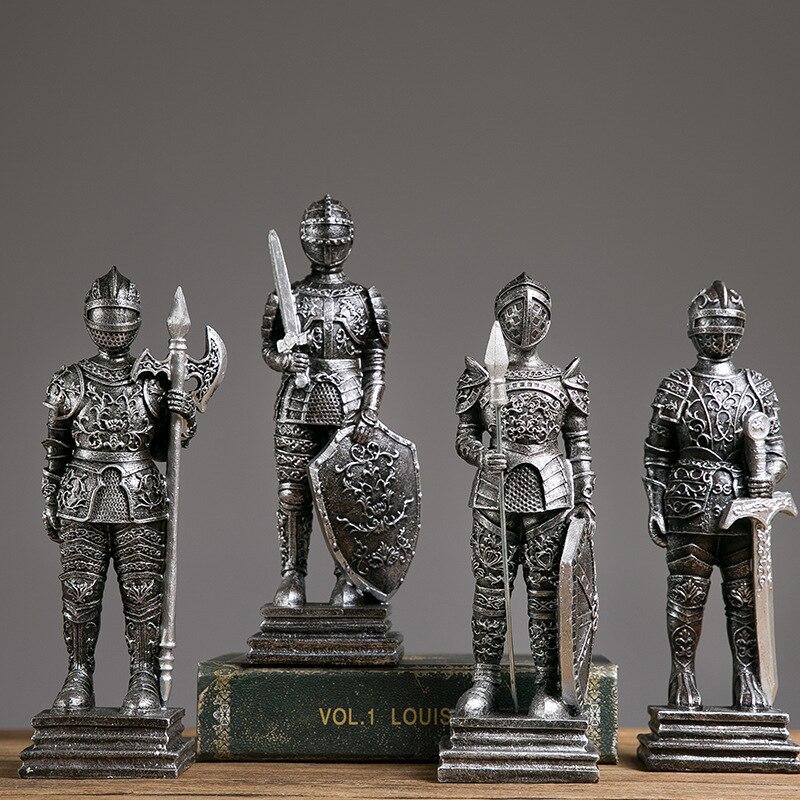Европейская полимерная модель римского солдата, статуя, винтажное украшение для домашнего офиса, винный шкаф, витрина, скульптуры, современный художественный декор