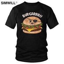 Male Funny Burger T Shirts Hamburger Lover T-Shirt Short Sleeves Pure Cotton Printed Tees Round Neck
