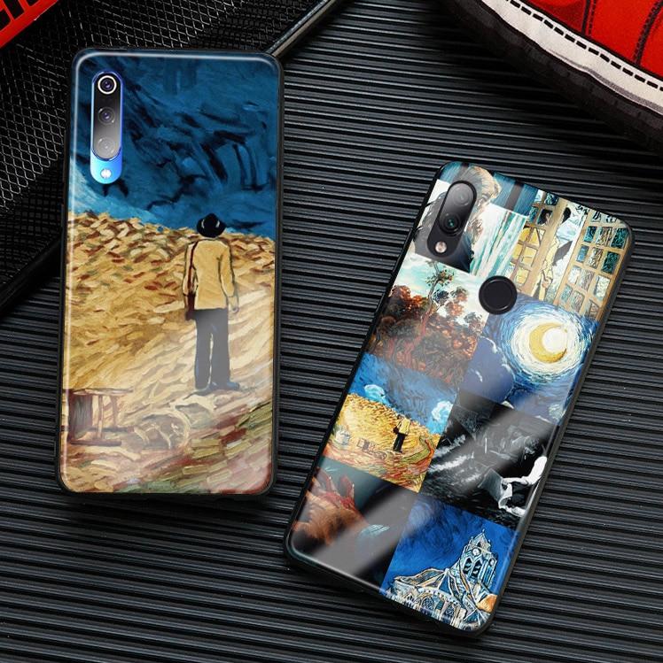 loving vincent van gogh phone case glass cover soft silicone shell for Xiaomi mi 6 x 8 9 se mix 2 2s 3 redmi note 5 6 7 pro