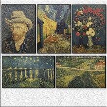 Mling 1PC 51.5x36cm rétro papier Kraft Van Gogh série affiche moderne abstrait Art peinture à lhuile barre café autocollant mural décoratif