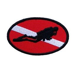 Ellipse Diver Down флаг патч вышитый Утюг На пришить акваланг Дайвинг PADI Divers сувенир