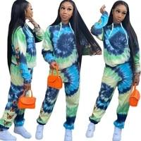 two piece set casual tracksuit winter butterfly tie dye print top hooded top and pants sporty streetwear set clubwear