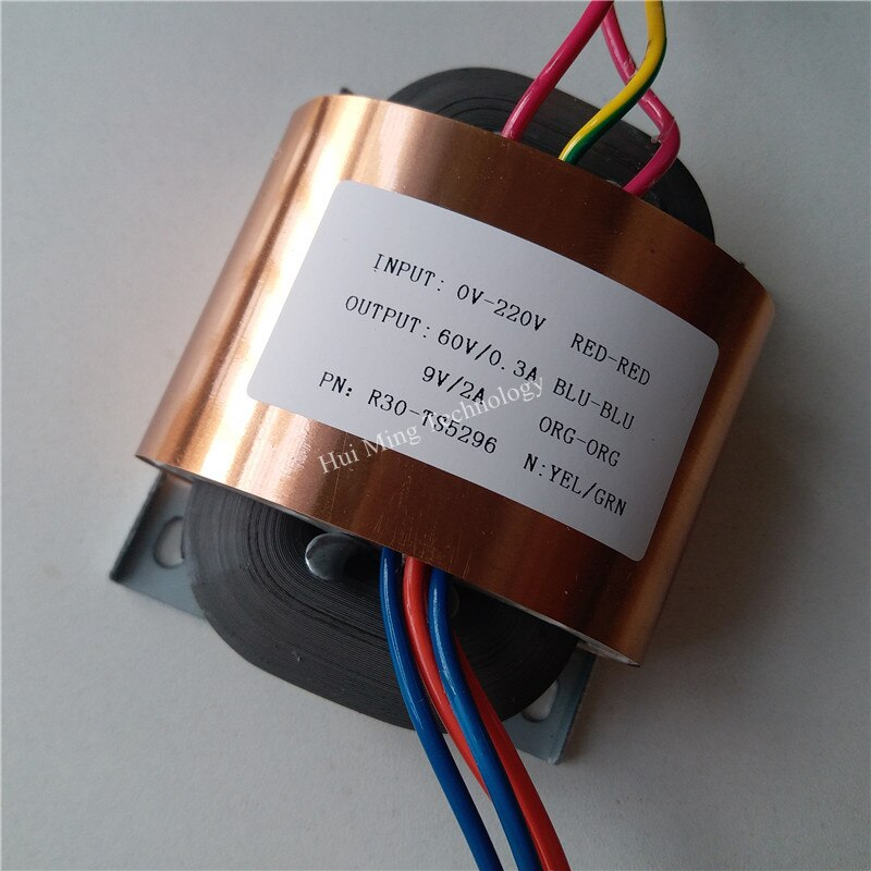 Transformador de núcleo R de 60V, 0,3 a, 9V, 2a, 35VA, R30, transformador personalizado, 220V, salida de escudo de cobre para predecodificador, amplificador de potencia