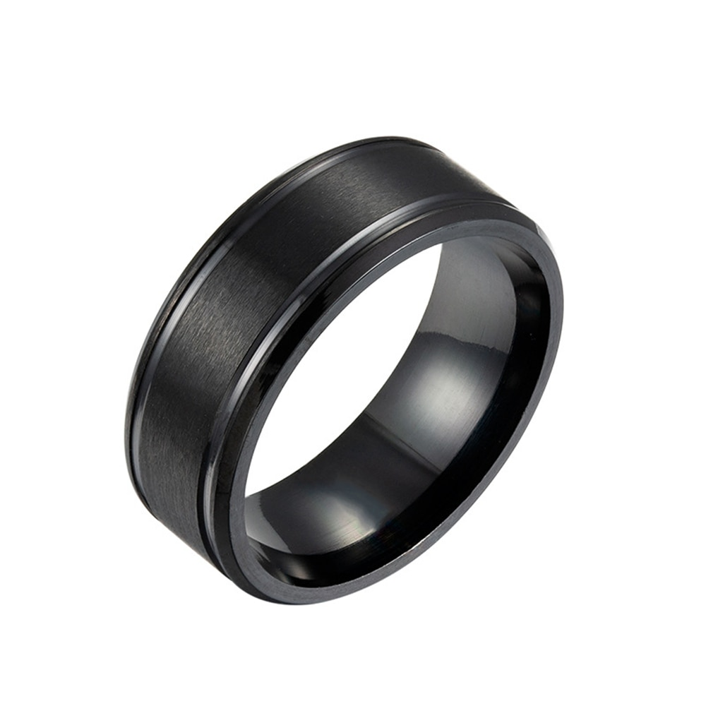 Loredana 8MM black and white gold three colors solid color matte double bevel stainless steel men's rings Tailored for men