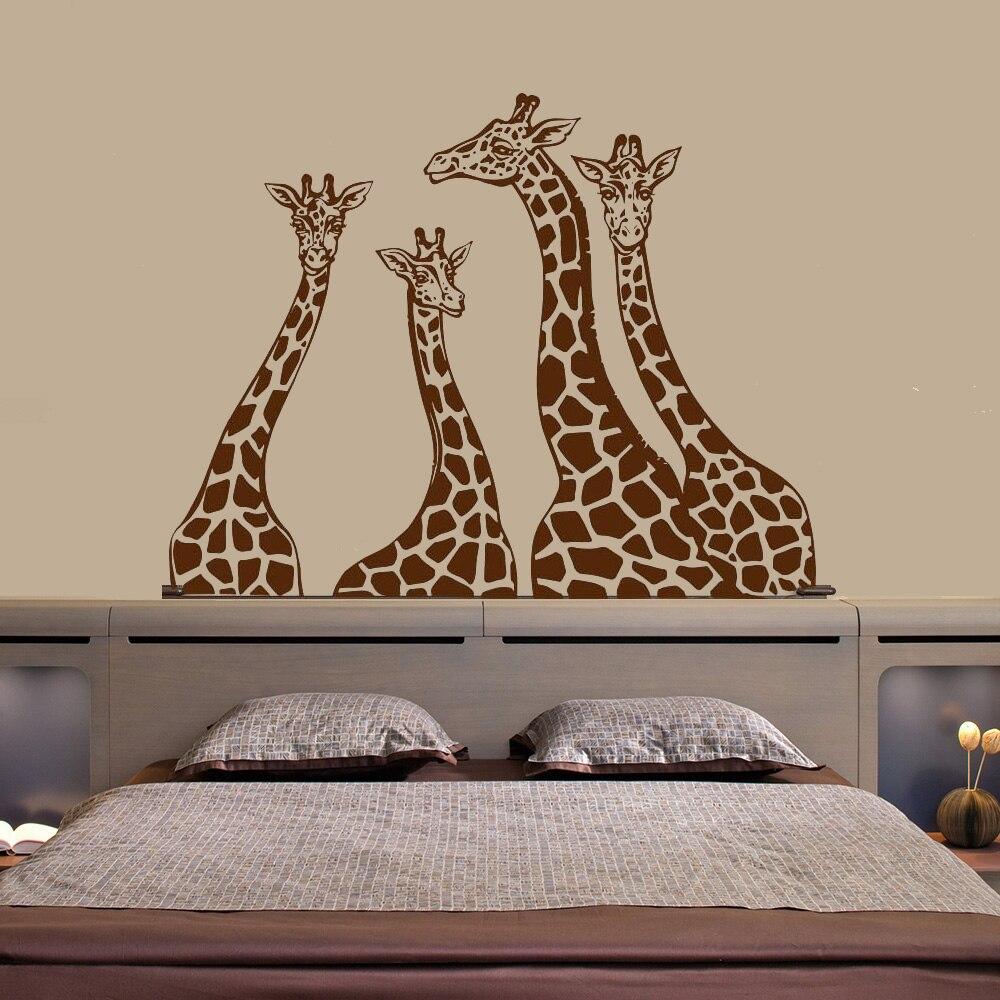 Familia calcomanías de jirafa para pared Safari selva/animales calcomanías de vinilo Interior para el hogar Decoración decoración de habitación de bebé murales ph188
