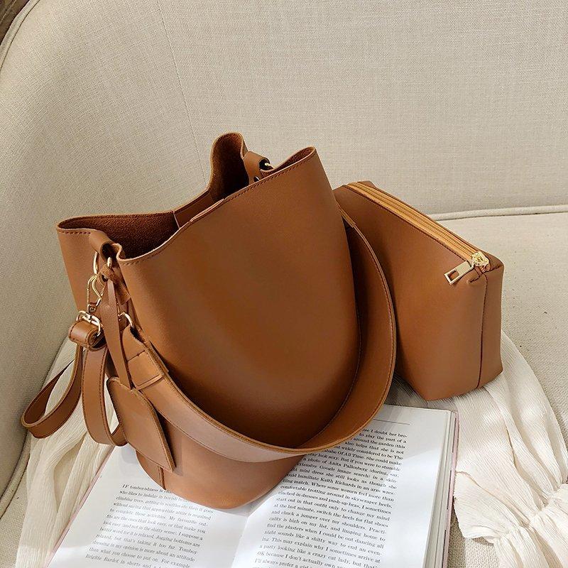 2piece/set Fashion Designer Pu Leather Women's Handbags Good Casual Ladies Tote Female Black Bucket Women Shoulder Crossbody Bag