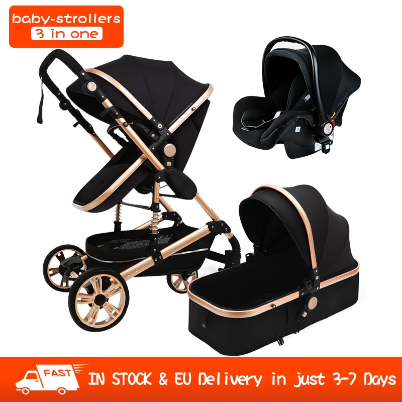 Multi-Functional 3 in 1 Baby Stroller High Landscape Can Sit Reclining Light Folding Strollers Two-Way With Car Seat In Stock
