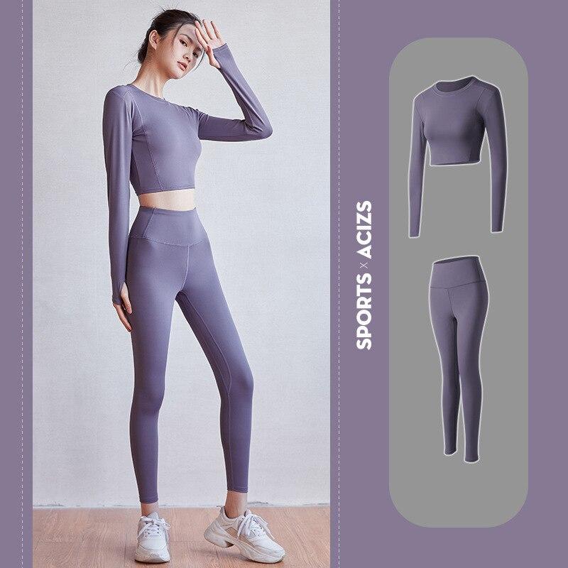 2 stück Frauen Yoga Set Nahtlose Fitness Sport Anzüge Gym Tuch Yoga Langarm Shirts Hohe Taille Rennen Leggings Workout hosen
