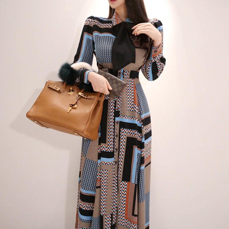 Vestido largo de estilo coreano con lazo elegante en la cintura vestido de camisa con dobladillo grande