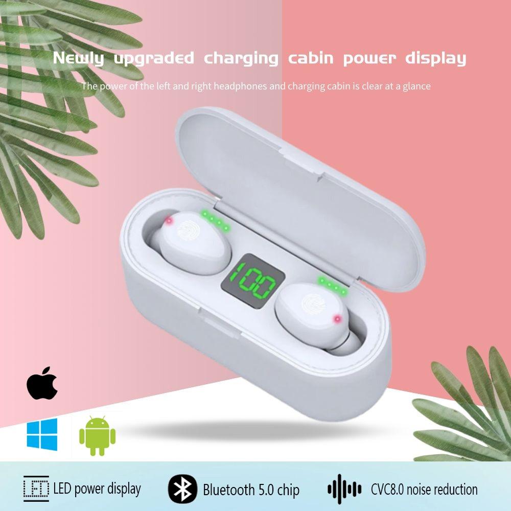 TWS Bluetooth 5.0 Earphones Wireless Headphone Sports Waterproof Mini Stereo in-Ear 9DStereo Noise R