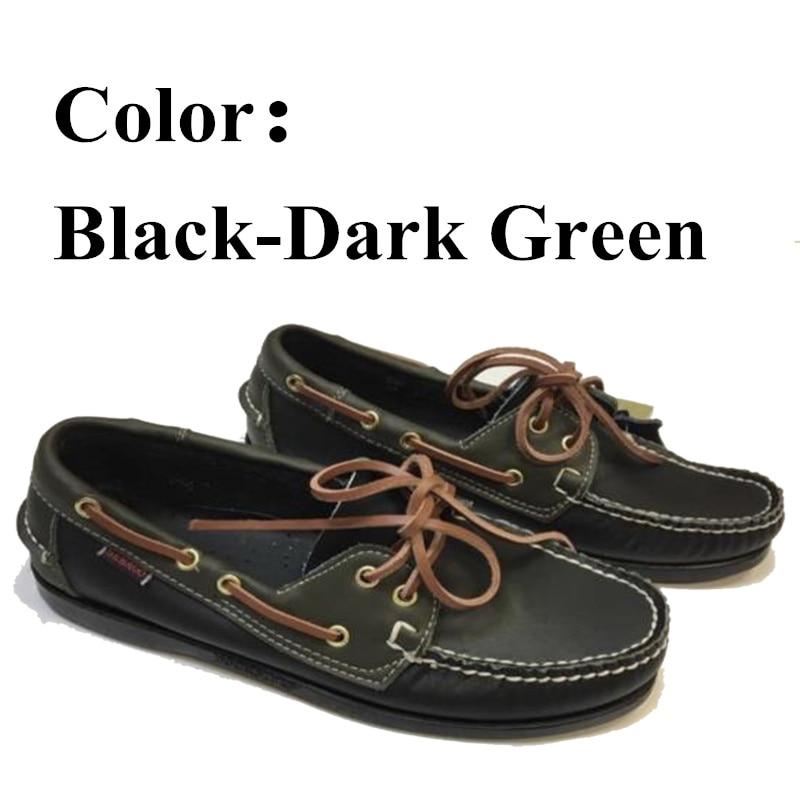 Männer Echtes Leder Docksides Boot Schuhe, Männer Designer Turnschuhe Für Hommme Femme Schwarz Dunkelgrün Hombre Loafers Y067