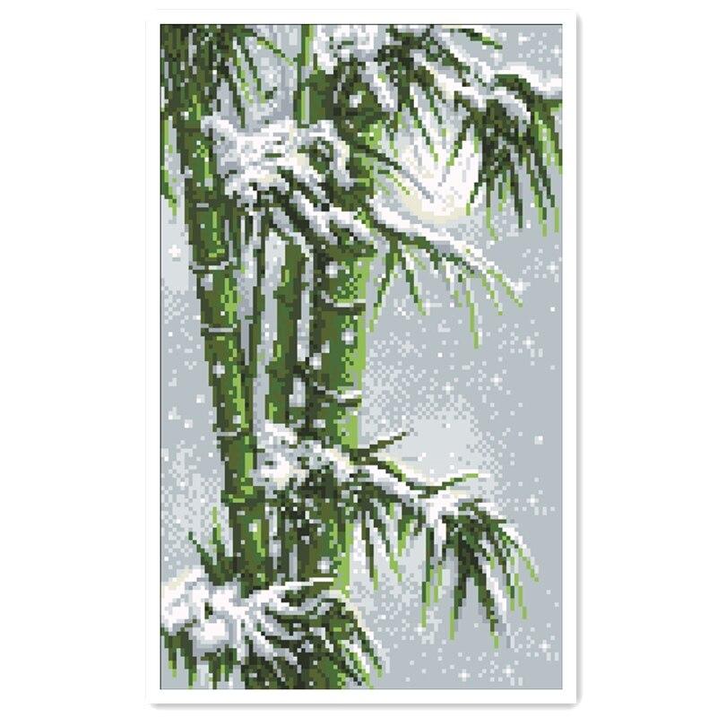 Bambú grande Cruz puntada kit bosque de invierno nieve 18ct 14ct 11ct blanco tela de algodón Bordado de hilo DIY a mano costura