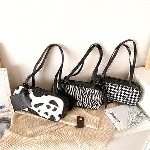 Bag Handbag New 2021 Slung Shoulder Bag Ins Simple  Celebrity Shoulder Zebra Houndstooth Cow Armpit Bag Fashion Pattern Baguette