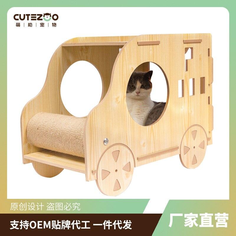 Nuevo nido de madera maciza para gatos, casa para perros, cama General para gatos en las cuatro estaciones, casa para gatos, rascador para gatos, suministros de juguetes para gatos