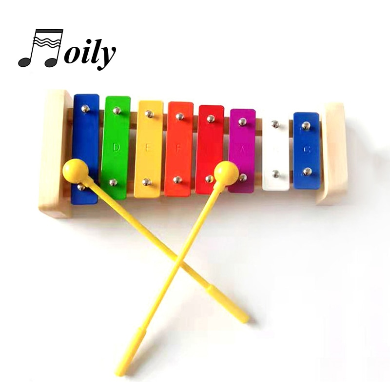 8 key Xylophone Children's Orff Musical Instruments Kid Baby Knock on the piano Educational Wooden Toys