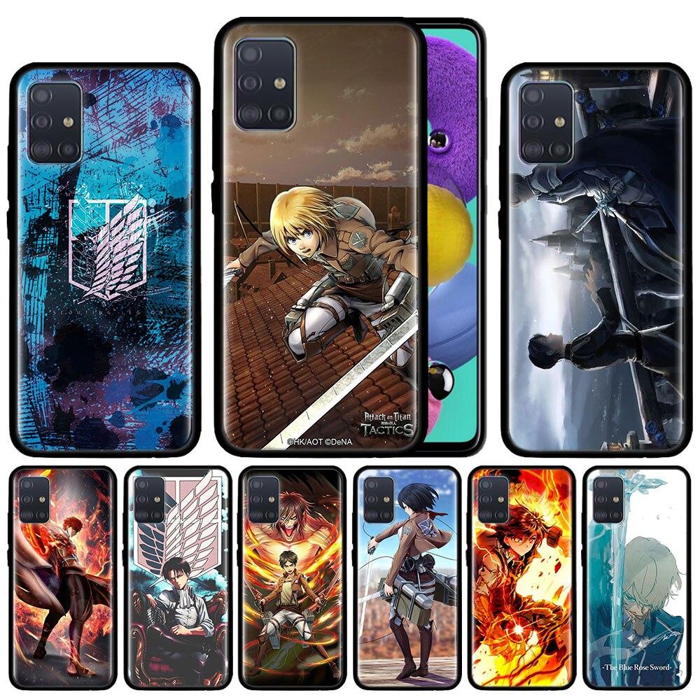 Japanese Attack On Titan Case For Samsung Galaxy A51 A71 A01 A81 A91 A50 A70 A70s M31 Black Silicone Phone Cover Fundas