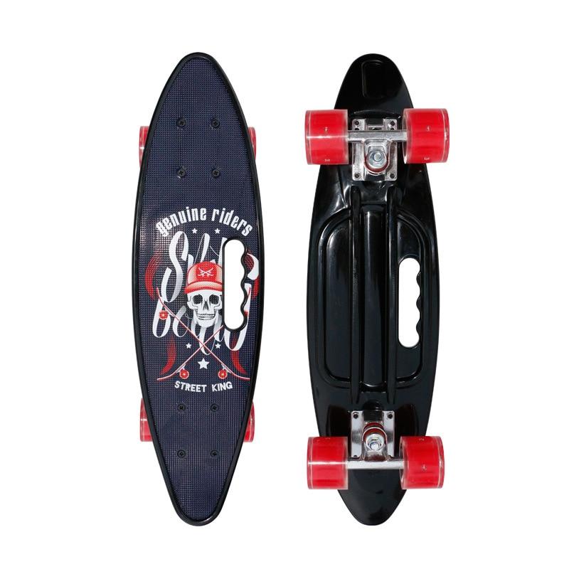 Single Rocker Skateboard Fishboard ABS Board PU Flash Wheel Banana Penny Skateboard 23in Cruiser Scooter Men Women Skating Deck