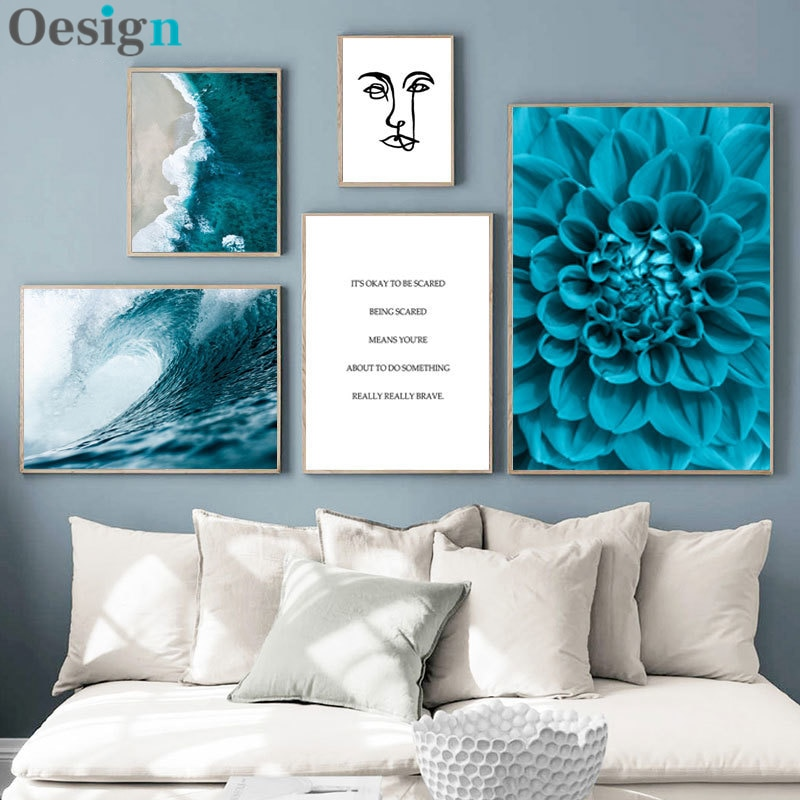 Imán de pared para sala de estar, diseño nórdico azul, estampado de...