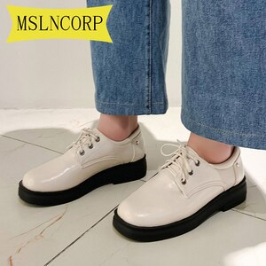 Plus Size 34-46 Women Creepers Women Flats Platform JK Mary Jane Lace-Up Student Ladies Loafers Oxford Girl Brogue Derby Shoes