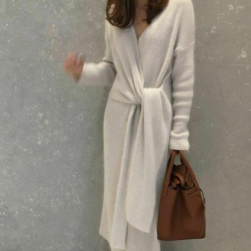 Vestido de suéter de cachemira con cinturón coreano 2020 para mujer, vestido de punto de manga larga con escote en V para oficina para mujer, Vestidos gruesos cálidos