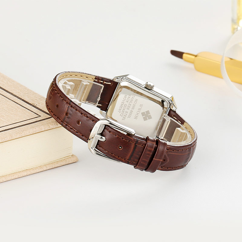 WWOOR Casual Dress Watch For Women Fashion Square Small Dial Ladies Watches Elegant Leather Quartz Wrist Watch Montre Femme 2020 enlarge